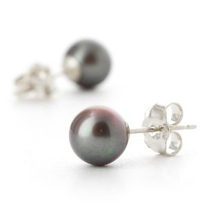 14K. GOLD STUD EARRINGS WITH NATURAL BLACK PEARL